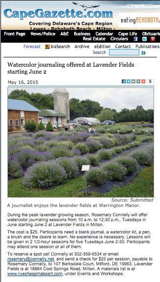 Watercolor Journaling offered at Lavender Fields